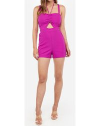Express Cinched Cut-out Halter Romper Pink