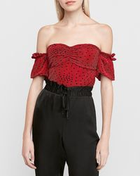 Express Pleated Off The Shoulder Heart Print Crop Top Red Xxs