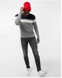 Express - Color Block Stripe V-neck Sweater - Lyst