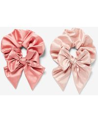 Express Set Of 2 Oversized Bow Ponytail Holders Pink