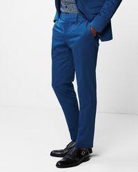 Express Extra Slim Blue Cotton Sateen Stretch Suit Pants