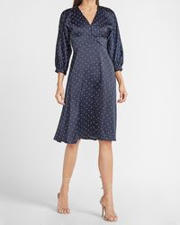 Express Ladygang Polka Dot Satin Button Front Midi Dress Blue Print