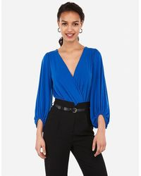 Express Surplice Balloon Sleeve Thong Bodysuit Blue