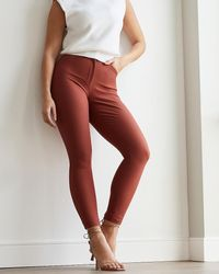 Express High Waisted Supersoft Twill Curvy Skinny Pant Orange 4 Long