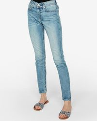 Express Mid Rise Light Wash Jeggings, - Blue