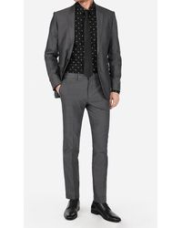 Express Extra Slim Charcoal Cotton Oxford Suit Trousers - Grey