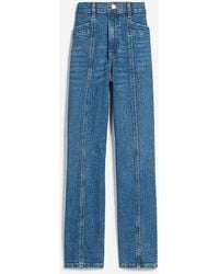 Express Super High Waisted Seamed Straight Jeans - Blue