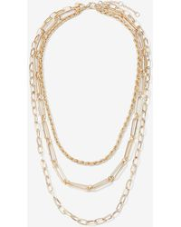 Express Three Row Rope Oval & Paperclip Chain Necklace Gold - Metallic