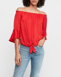 Express Satin Tie Front Off The Shoulder Top Red Xs