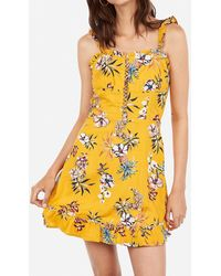 Express Pineapple Print Lace-up Ruffle Fit And Flare Dress Yellow Print
