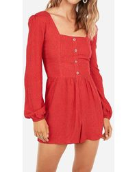 Express Dot Print Button Front Romper Red Print