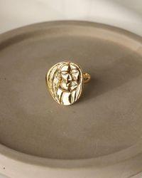 Express Set & Stones Macie Abstract Face Ring Gold 7 - Metallic