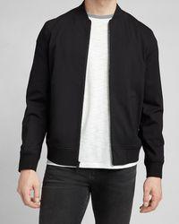 Express Solid Black Knit Bomber Jacket