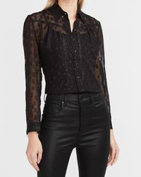 Express Sheer Metallic Clip Dot Portofino Shirt Pitch Black