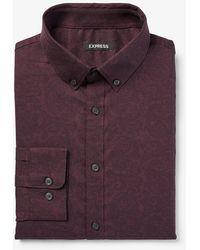 Express Slim Paisley Wrinkle-resistant Performance Dress Shirt Purple Xs