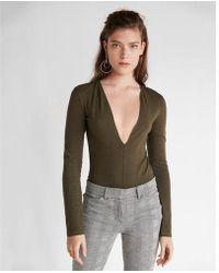 Express Deep V-neck Thong Bodysuit - Green