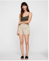 Express - Super High Waisted Belted Stretch Shorts - Lyst