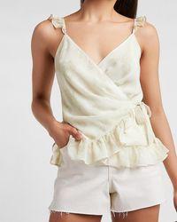 Express Floral Ruffle Wrap Tie Cami Neutral Print - Natural