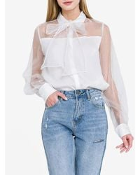 Express Endless Rose Tie Neck Sheer Top White S