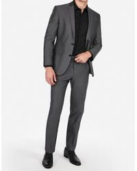 Express Classic Charcoal Grey Oxford Cotton Suit Trousers Grey W28 L32 - Gray