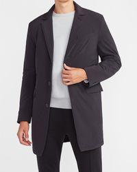 Express Black Nylon Stretch Water-resistant Topcoat Black Xs