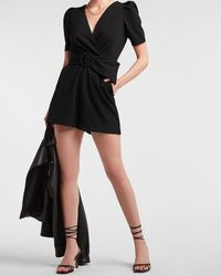 Express Belted Wrap Front Puff Sleeve Romper Pitch Black