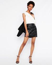 Express Vegan Leather Studded Chevron Mini Skirt Black