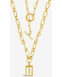 Express Sterling Forever Toggle & Pendant Chain Layered Necklace Metallic Gold