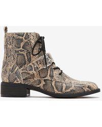 Express Snakeskin Combat Boots Neutral Print - Brown