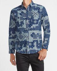 Express Slim Bandana Print Denim Shirt - Blue