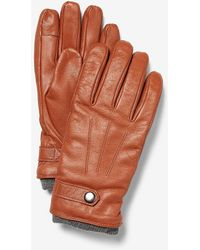 Express Genuine Leather Touchscreen Compatible Gloves Brown