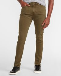 Express Skinny Olive Hyper Stretch Jeans, Size:w29 L30 - Brown