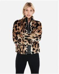 Express - Faux Fur Moto Jacket - Lyst