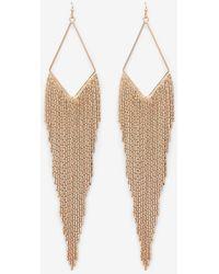 Express Chain Fringe Drop Earrings - Metallic