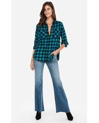 Express Check Plaid Flannel Boyfriend Shirt Blue