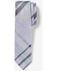 Express Narrow Plaid Tie Blue Reg
