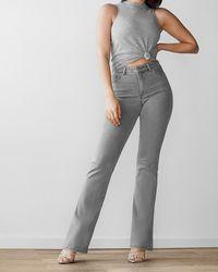 Express High Waisted Gray Curvy Bootcut Jeans