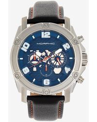 Express Morphic M73 Series Chronograph Leather-band Watch Blue