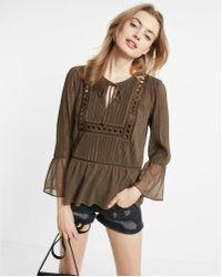 Express   Crochet Bell Sleeve Blouse   Lyst