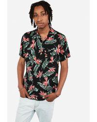Express Short Sleeve Rayon Floral Hawaiian Shirt Black Xs