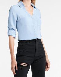 Express Solid Two Pocket Portofino Shirt Blue M