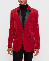 Express Slim Red Velvet Tuxedo Jacket Red 36 Short