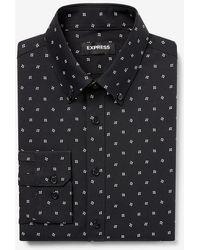 Express Big & Tall Classic Geo Print Wrinkle-resistant Performance Dress Shirt Black Xxl