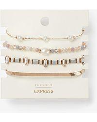 Express Set Of Four Pearl Stone & Chain Bracelets White - Multicolour