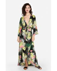 Express Tropical Print Deep V-neck Tie Front Top Print - Green