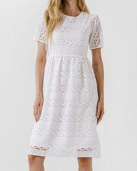 Express Endless Rose Lace Midi Dress White M