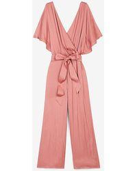 Express Satin Flutter Sleeve Culotte Jumpsuit Pink Xs