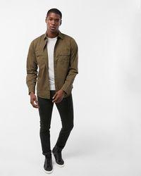 Express Slim Twill Military Shirt Green