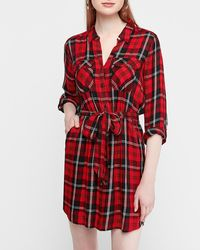 Express Red Plaid Paperbag Utility Shirt Dress Red Print