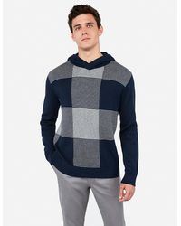 Express Striped Check Hooded Sweater Blue Xs